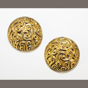 A pair of rosette earrings