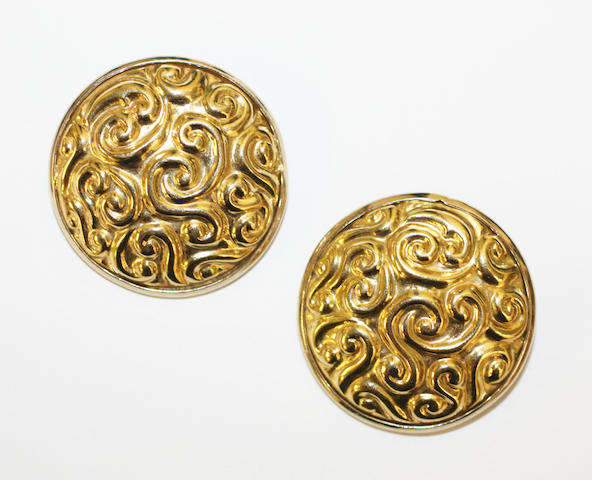 A pair of circular rosette earrings,