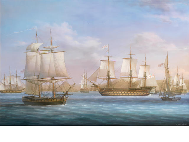 Louis Dodd (British, born 1943) Nelson arriving at St. Johns harbour, Antigua, 12th June 1805 in the pursuance of Villeneuve shewing the Victory and the brig Curieux with dispatches for England