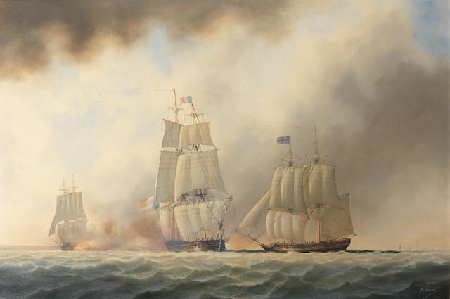 Timothy Franklin Ross Thompson (British, born 1951) The French Pallas (36), centre, being captured by H.M. sloop Fairy, left, and H.M. brig sloop Harpy, right, 5th February 1800
