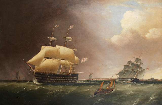 Robert Strickland Thomas (British, 1787-1853) H.M.S. Nelson outward bound from Portsmouth, in a heavy swell, with a frigate heading into port off her stern