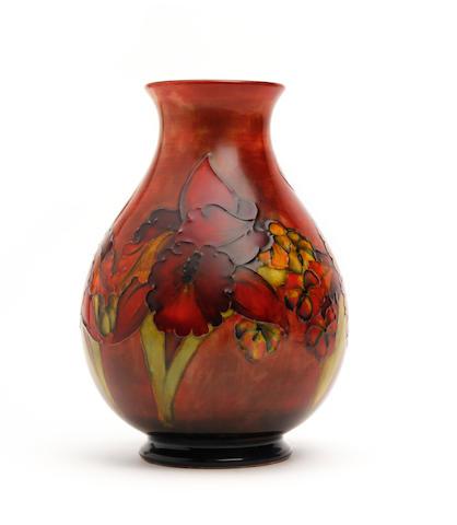 A Walter Moorcroft 'Orchid' flambe design vase Circa 1955