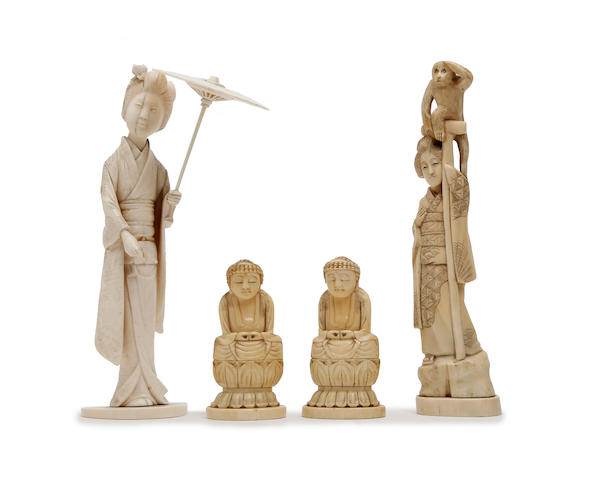 A collection of Japanese carved ivories  Meiji Period