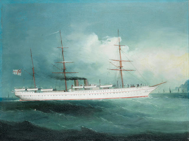 Anglo-Chinese School, 19th century A two funnelled British steamer in Chinese waters??????????????