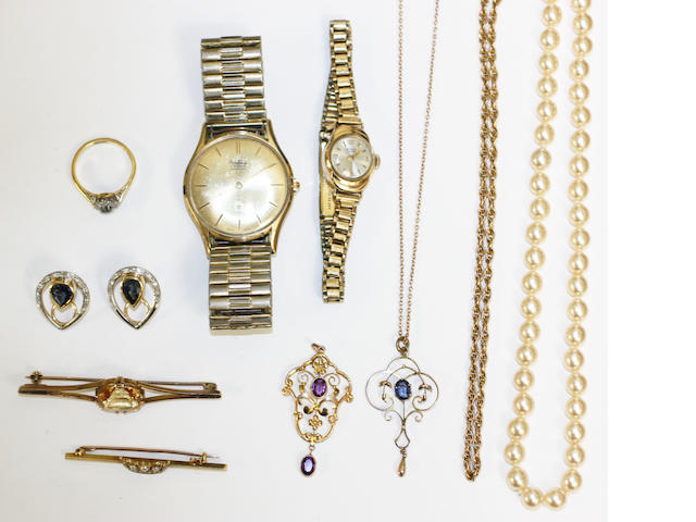 PR SAPPHIRE & DIAMOND EARCLIPS, GENTS YELLOW METAL WATCH, 9CT LADIES WATCH, 2 EDWARDIAN PENDANTS (ONE ON CHAIN), 9CT NECKLACE, SAPPHIRE & DIAMOND RING, STRING OF CULTURED PEARLS, 2 BAR BROOCHES