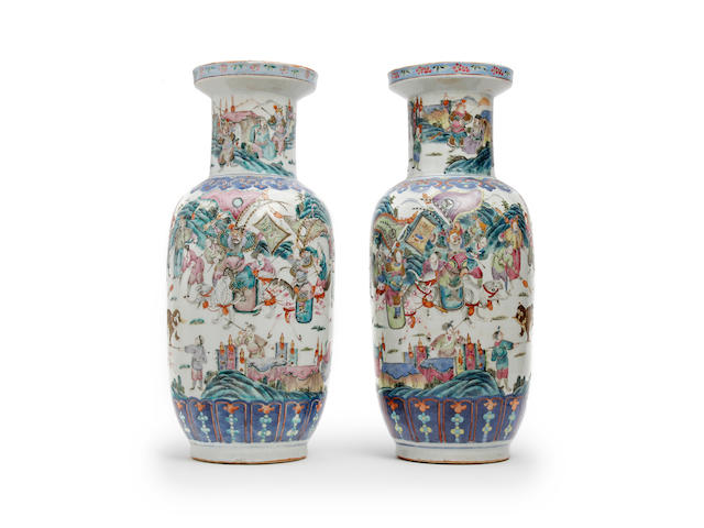 A pair of Chinese famille rose rouleau vases 19th Century