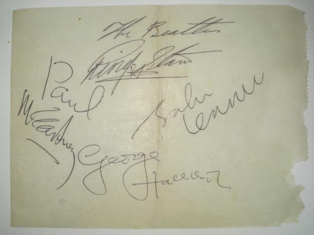 A set of Beatles autographs, 1960s,
