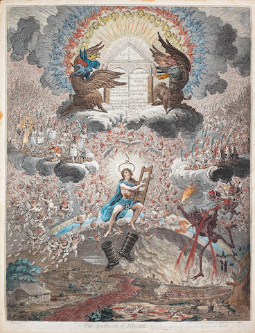 James Gillray (British, 1757-1815) The Apotheosis of Hoche Etching and aquatint, 1798, on wove, with small margins, 505 x 390mm (19 7/8 x 15 3/8in)(PL)