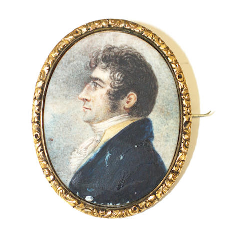 19th C Portrait Miniature Brooch
