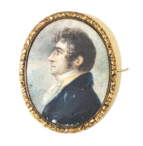19th C Portrait Miniature Brooch