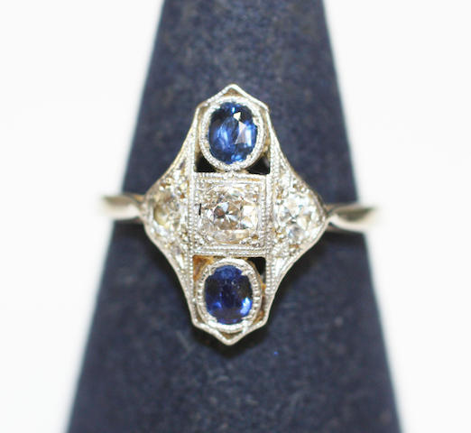A sapphire and diamond panel ring,