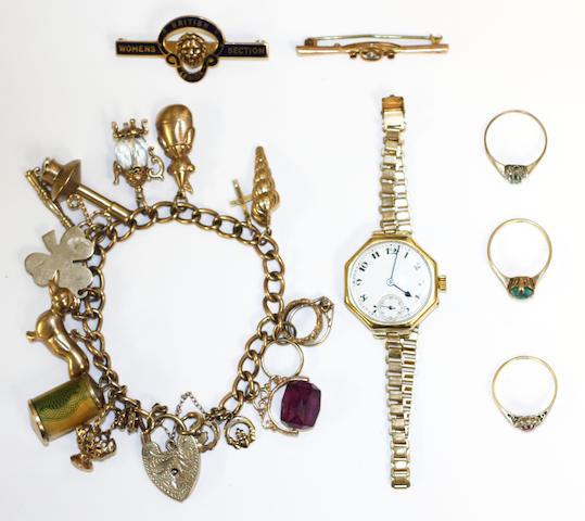 A charm bracelet, (7)
