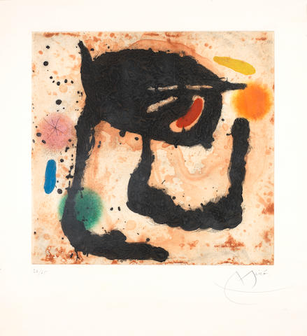 Joan Miro (Spanish, 1893-1983) Le Dandy (Dupin 492) Etching with aquatint and carborundum printed in colours, 1969, on Madeure rag paper, signed and numbered 36/75 in pencil, printed and published by Maeght éditeur, Paris, with margins, 416 x 431mm (16 3/8 x 17in) (PL)
