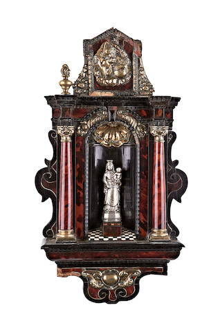 An early 18th century Flemish tortoiseshell, ebonised, brass and bone altarpiece