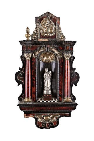 An early 18th century Flemish tortoiseshell, ebonised, brass and bone altarpiece