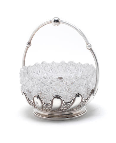 A silver and glass sugar bowl by Grachev