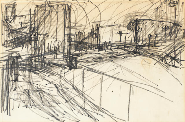 Frank Auerbach (British, born 1931) Drawing 23 x 35 cm. (9 1/8 x 13 3/4 in.)