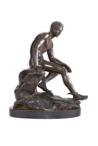 After the Antique: An early 20th century bronze figure of the seated Mercury