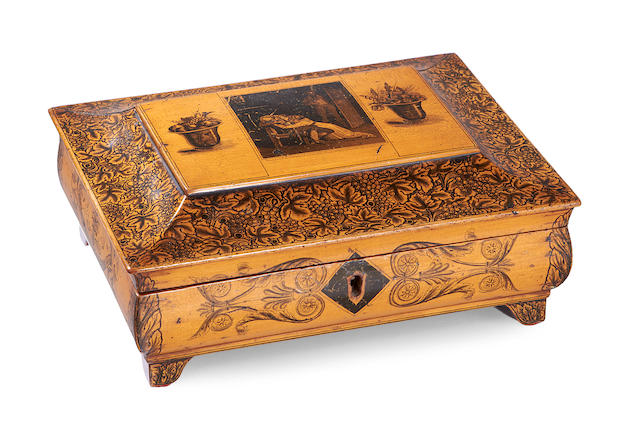 A late Regency fruitwood, penwork and transfer decorated work box made by Coleman, Cutler 4 Haymarket London