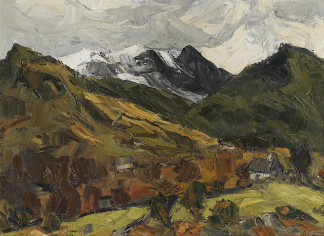 Sir Kyffin Williams R.A. (British, 1918-2006) Snowdon in Storm 51 x 68.5 cm. (20 1/8 x 27 in.)