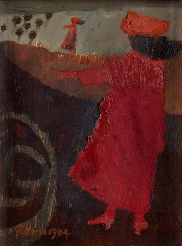 Mary Fedden R.A. (British, born 1915) Woman in red