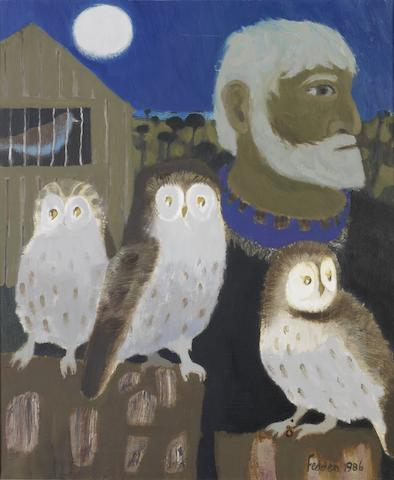 Mary Fedden R.A. (British, born 1915) Portrait of Julian Trevelyan and Three Owls