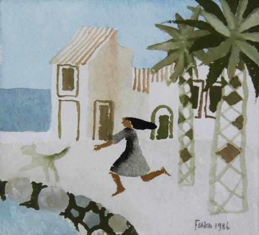 Mary Fedden R.A. (British, born 1915) Woman chasing dog