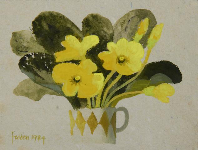 Mary Fedden R.A. (British, born 1915) Primroses in a mug