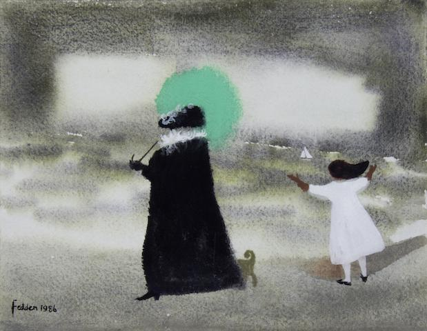 Mary Fedden R.A. (British, 1915-2012) Woman with a green parasol