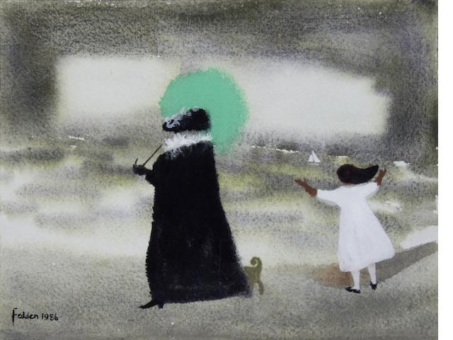 Mary Fedden R.A. (British, born 1915) Woman with a green parasol