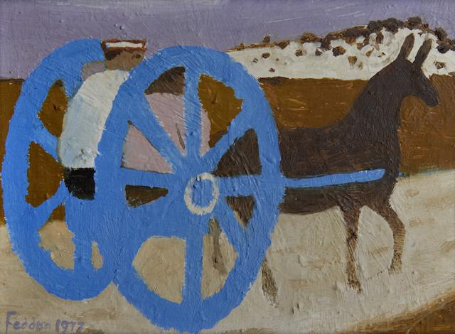 Mary Fedden R.A. (British, born 1915) 'The blue cart'