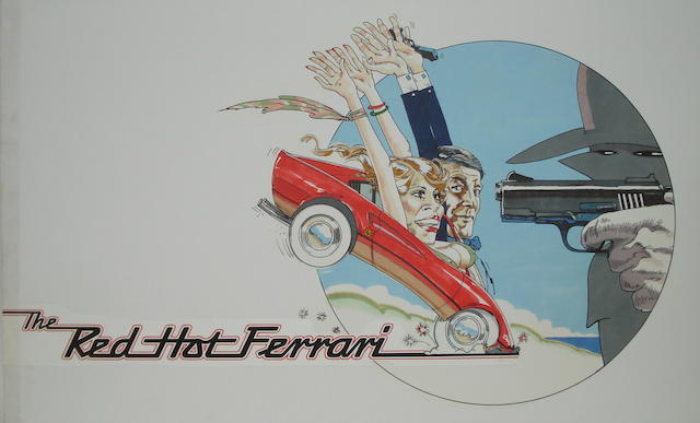 'The Red Hot Ferrari' original Vic Fair film artwork,
