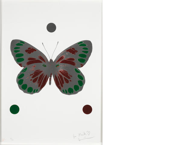 Damien Hirst (British, born 1965) Butterfly Foil block print in colours, 2010, on wove, signed and inscribed 'For Mark love Damien', in pencil, numbered 88/150, stamped 'Happy Christmas 2010', published by Other Criteria, London, with full margins, 725 x 505mm (28 1/2 x 20in) (SH)
