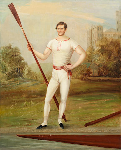 English Naïve School, 19th century A portrait of the oarsman Edward Hawks