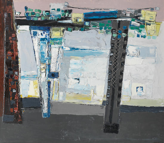 Paul Feiler (British, born 1918) Balcony Blue and Lemon 60.5 x 68.5 cm. (23 3/4 x 27 in.)