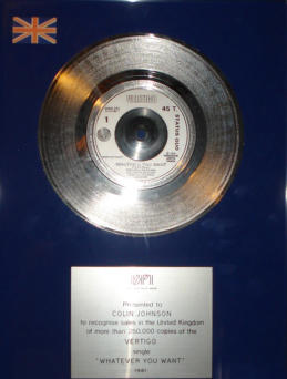 Status Quo: Two BPI 'Silver' Sales awards, named to their Manager - Colin Johnson, including: 2