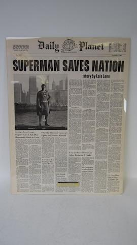 A 'Daily Planet' prop newspaper from 'Superman'/'Superman II',