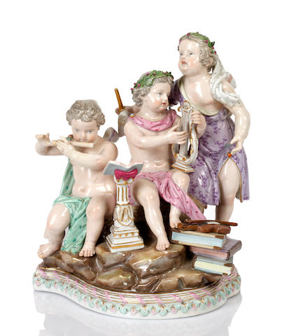 A Meissen figure group depicting Music, late 19th century