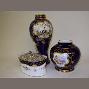 A Coalport pomander with silver cover, a Coalport vase, and a Staffordshire vase