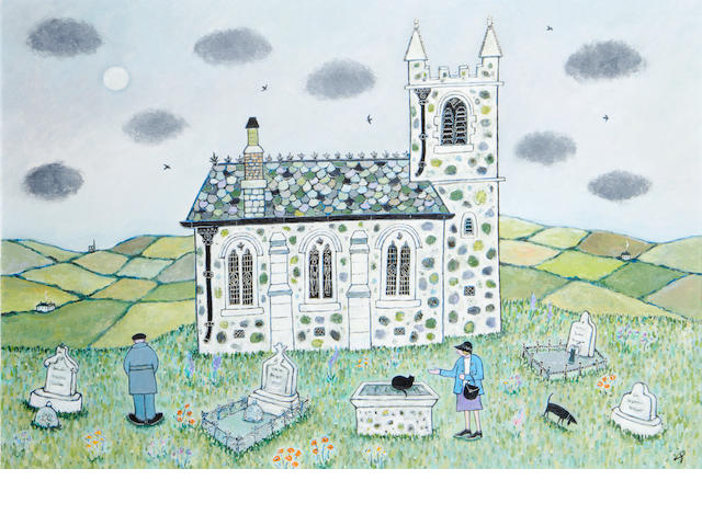 Joan Gillchrest (British, 1918-2008) Visiting Monal church