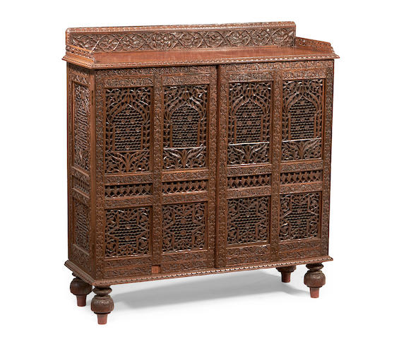 An Indian late 19th/early 20th Century hardwood side cabinet,
