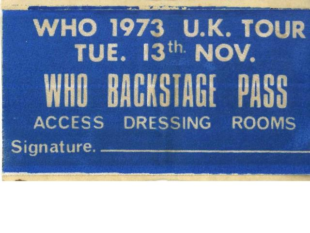 A backstage pass for the Who's 1973 UK tour, dated 13th November,