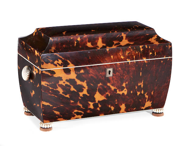 A late Regency tortoiseshell tea caddy