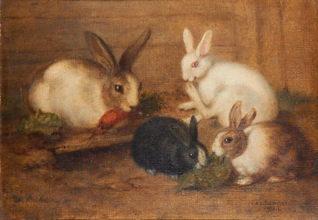 Charlotte Mount Brock Schreiber (British/Canadian, 1834-1922) Studies of rabbits, a pair (2)