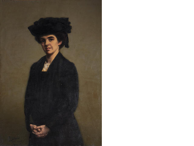 Theodore Roussel (British, 1847-1926) Portrait of Miss Robertine Heriot, half-length, in a black dress and hat