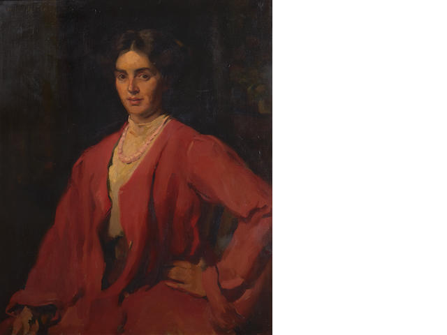 Miss Heynemann (late 19th/early 20th Century) Portrait of Robertine Heriot in a red dress