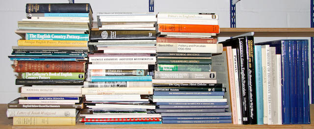 A collection of general ceramic reference books; Together with various auction catalogues