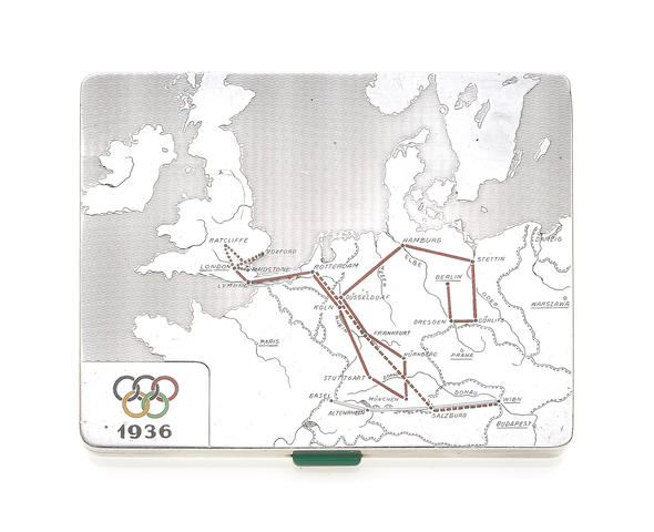 1936 OLYMPICS. Silver & Enamel Cigarette case with Olympic Games symbol and flight details + small photograph (to be returned)