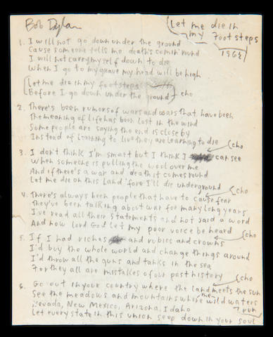 Bob Dylan's handwritten lyrics for 'Let Me Die In My Footsteps' 1962,