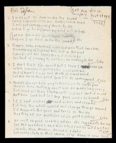 Bob Dylan's handwritten lyrics for 'Let Me Die In My Footsteps' 1962,